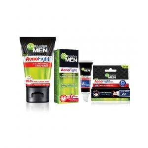 Garnier Men Acno Fight Anti-Pimple Facewash -100gm, Clearing Whitening Day Cream-45g & Clearing Gel-10ml