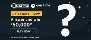 27 April Amazon Quiz Ans and Win 50000