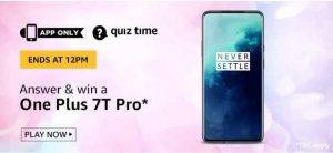 April 12 Amazon Quiz Ans and Win One Plus 7T pro