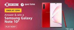 April 15 Amazon Quiz Ans and Win Samsung Galaxy Note 10