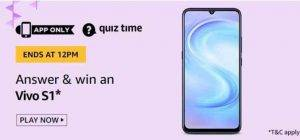 Amazon Quiz Ans and Win Vivo S1 (14th June)