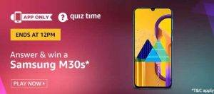 Amazon Quiz Answers and Win Samsung m30s (28th June 2020)