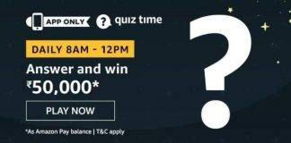 Amazon Quiz Today Answer - Win 50,000 13th July 2020