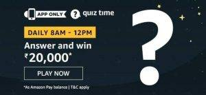 Amazon Quiz Today Answer - Win Rs. 20,000 3rd August 2020