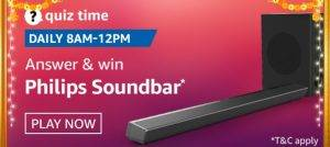 Amazon Quiz Today Answer - Win Philips Soundbar 11th October 2020