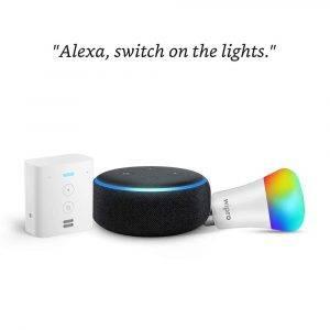 Echo Dot Black bundle with Echo Flex and Wipro 9W smart bulb