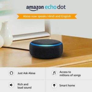 Echo Dot (3rd Gen), Certified Refurbished, Black – Improved smart speaker with Alexa – Like new
